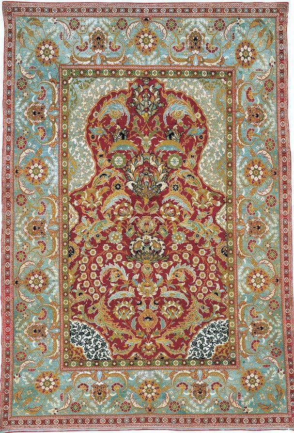16e eeuws tapijt van zijde, uit Bursa of Istanbul