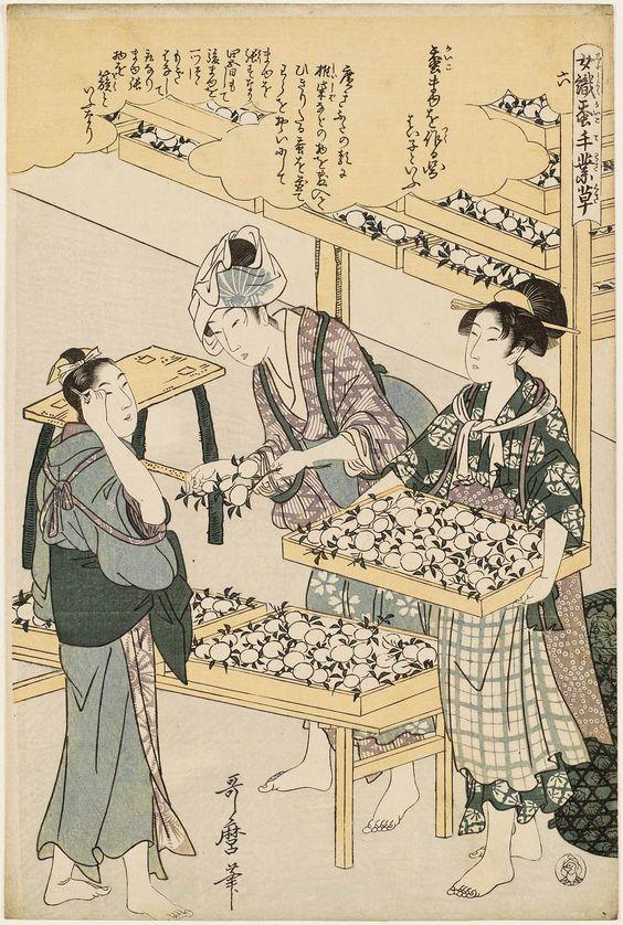 Prent van Japanse vrouwen bij de coconoogst