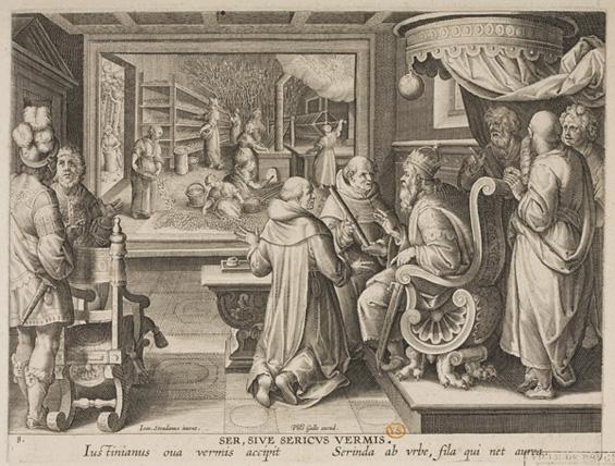 Keizer Justianus met monniken