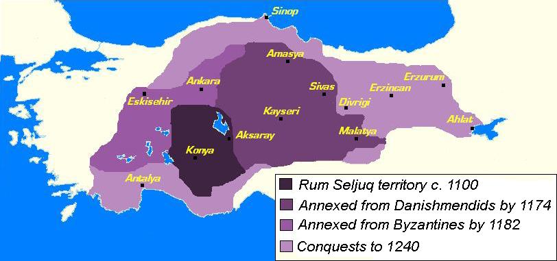 Kaart Sultanaat van Rûm