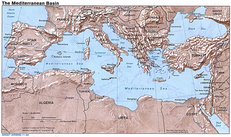 Middellandse Zee, kaart met omringende landen