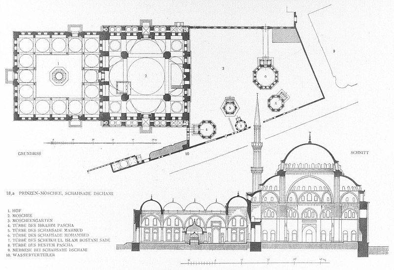 Plattegrond en dwarsdoorsnede van de Şehzade Mehmed moskee