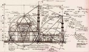Tekening met berekeningen van Mimar Sinan