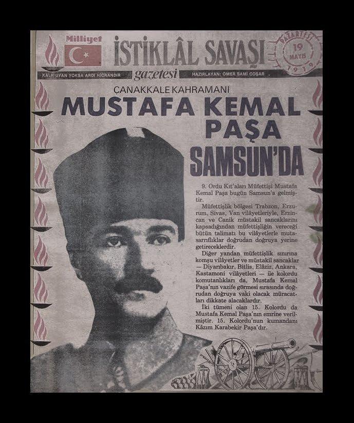 Krantenartikel, Atatürk is in Samsun